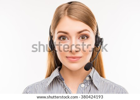 Close up portrait of young  agent of call centre - stock photo