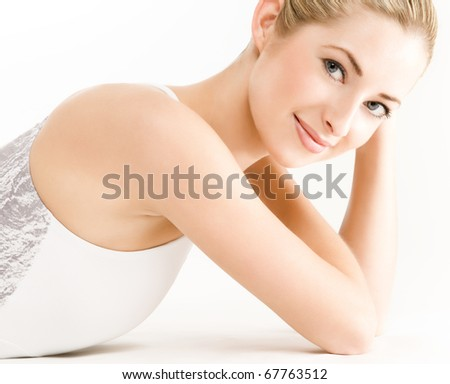 close up portrait of young beautiful caucasian woman - stock photo
