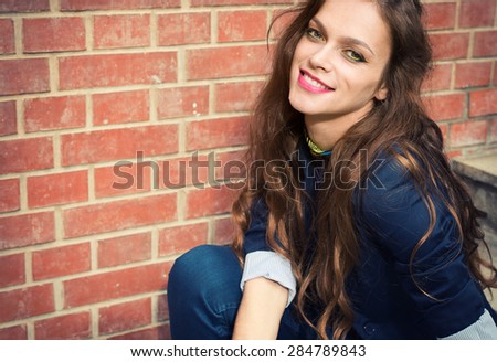 close up portrait of young Beautiful woman outdoors - stock photo