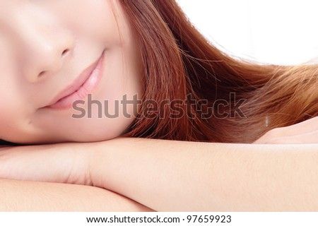 Close-up portrait of young beautiful woman smile lips isolated on white background, Model is a asian beauty - stock photo