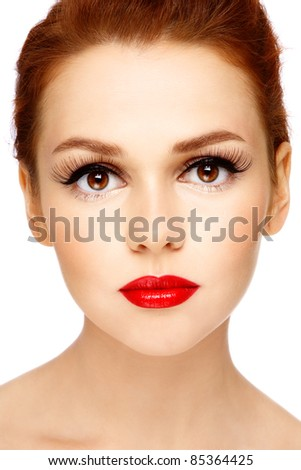 Close-up portrait of young beautiful woman with stylish make-up on white background - stock photo