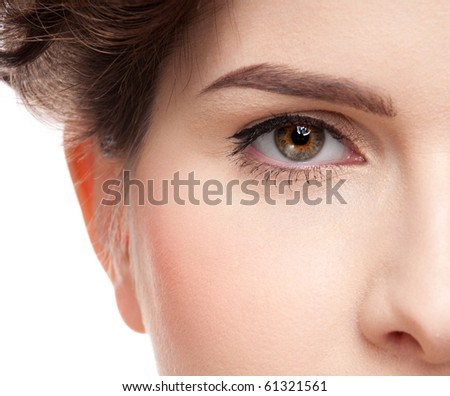 Close up portrait of young beauty woman. Perfect skin! Isolated on white. - stock photo