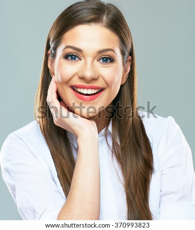 Close up portrait of young business woman leaning face on two hands. isolated portrait. Copy space. - stock photo