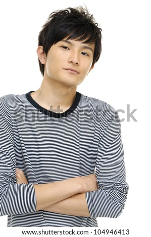 Close up portrait of young casual man - stock photo