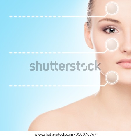 Close-up portrait of young, fresh and natural woman with the dotted arrows - stock photo