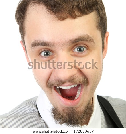 Close-up Portrait of  young smiling and happy  beard man .  Isolated a background  - stock photo