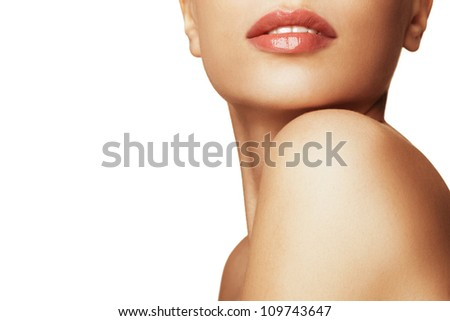 Close-up portrait of young woman with beautiful lips - stock photo