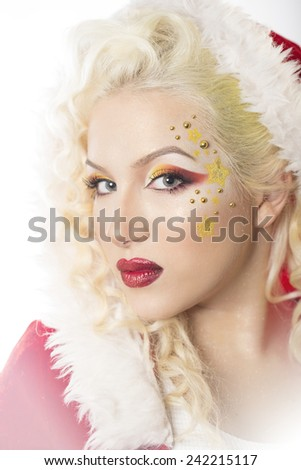 Close-up portrait, perfect skin, bright professional make-up, red lips - stock photo