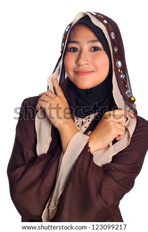 Close Up Pretty muslim woman model in action, on white background - stock photo