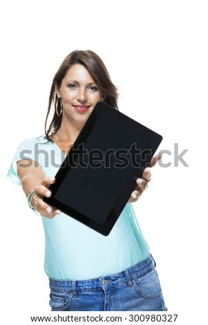 Close up Pretty Young Woman Browsing at her Black Tablet Computer, Isolated on White Background. - stock photo