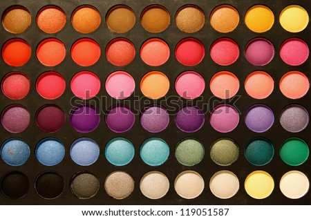 Close-up professional multicolour eyeshadows palette - stock photo