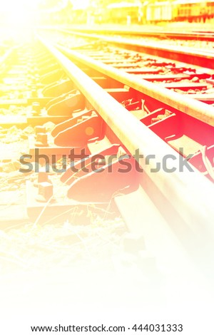 Close up railway station tracks with color filters - stock photo