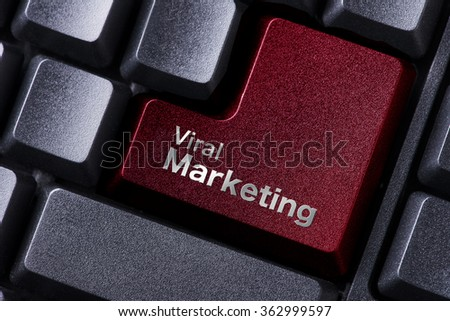 close up red enter button written viral marketing - stock photo