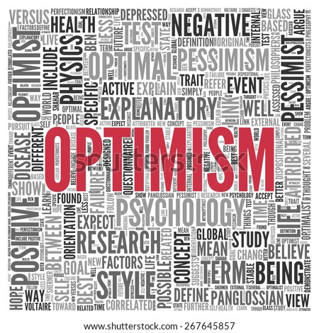 Close up Red OPTIMISM Text at the Center of Word Tag Cloud on White Background. - stock photo