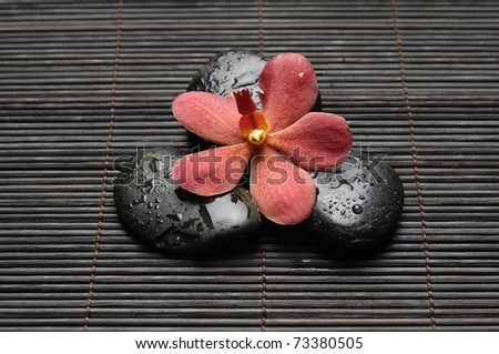 Close up red orchid and zen Stones on bamboo mat - stock photo
