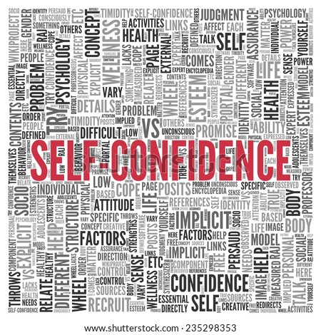 Close up Red SELF CONFIDENCE Text at the Center of Word Tag Cloud on White Background. - stock photo