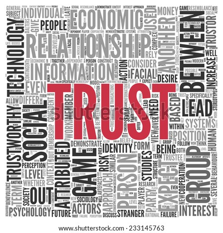 Close up Red Trust Text at the Center of Word Tag Cloud on White Background. - stock photo