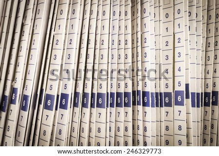 Close up Rows of files in a medical office - stock photo