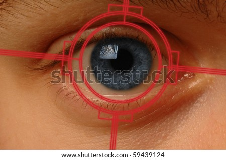 Close-up scan of blue eye - stock photo