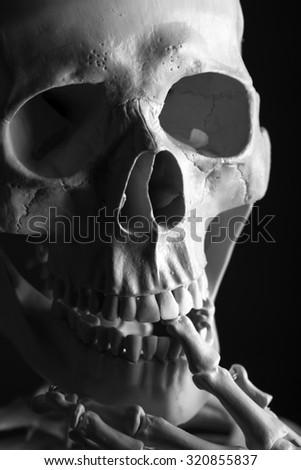 Close up Scary Skeleton on black background - stock photo