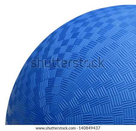 Close up Section of Blue Dodge Ball Isolated on White Background. - stock photo