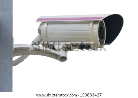 close up Security Camera,CCTV isolate white background with clipping path - stock photo
