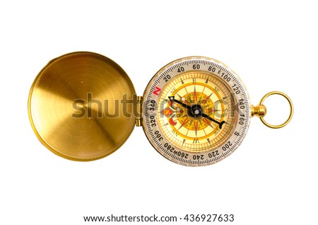 Close up, selective focus golden compass isolated on white background with clipping path - stock photo