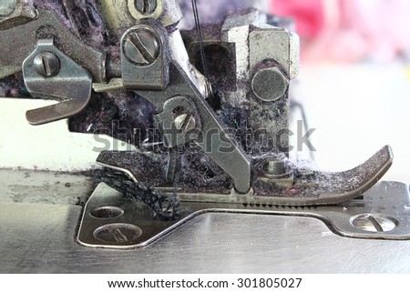 Close-up sewing machine, household industry - stock photo