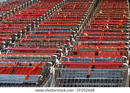 Close up shopping cart - stock photo