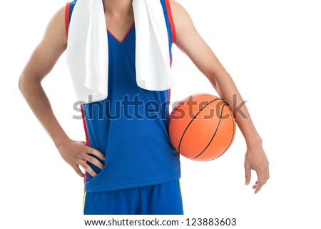 Close-up shot of a basketball player after a training - stock photo