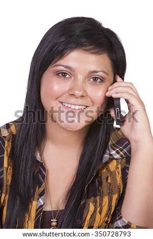 Close up Shot of a Beautiful Girl Talking on the Cell Phone - Isolated - stock photo