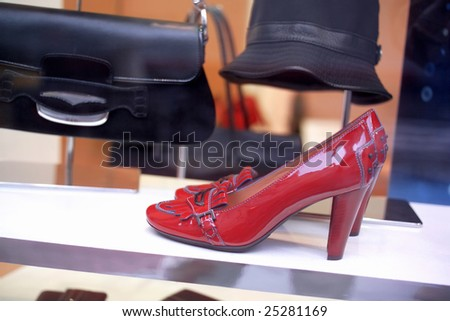 close up shot of a Boutique display window - stock photo