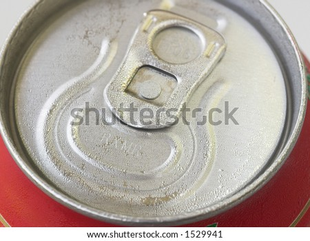 Close up shot of a cold drinks can - stock photo