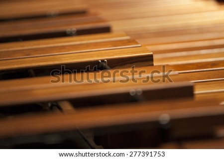 Close-up shot of a marimba keyboard. - stock photo