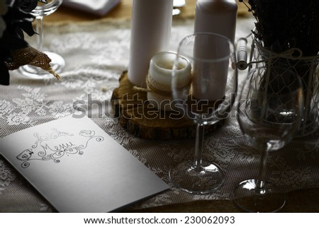 Close up shot of a menu on a table. - stock photo