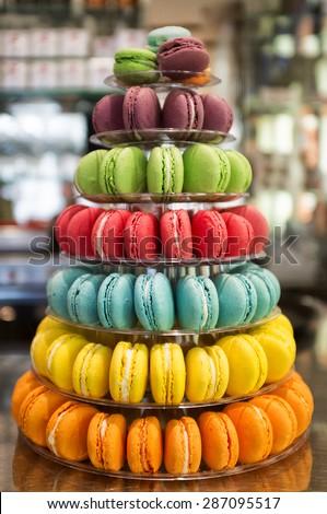 Close up shot of a pyramid of macarons - stock photo