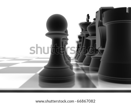Close up shot of a set of black chess pieces, with a depth of field - stock photo