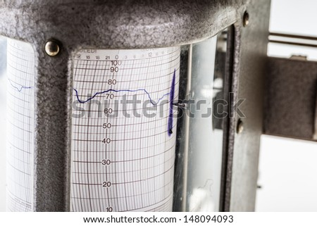 close up shot of an old vintage hygrometer or seismograph - stock photo