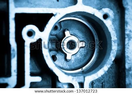 Close up shot of automotive engine components - stock photo