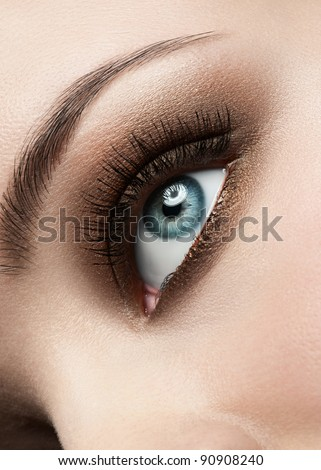 Close-up shot of beautiful female blue eye with bright fashion make-up - stock photo