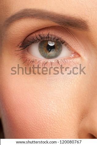 Close-up shot of beautiful female eye with makeup - stock photo