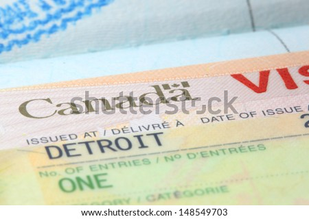 Close up shot of Canadian visa stamp - stock photo