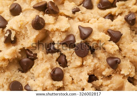 Close up shot of chocolate chip cookie dough. - stock photo
