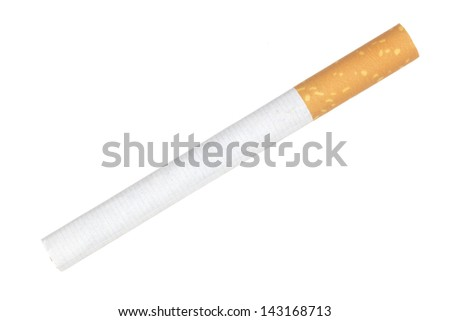 close up shot of cigarette isolated on a white background - stock photo