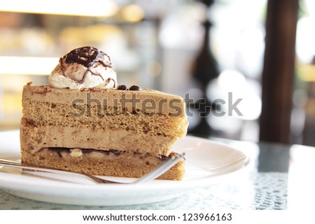 close up shot of coffee cake - stock photo