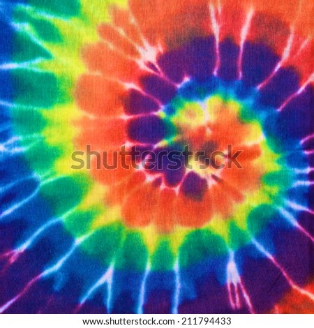 close up shot of colorful tie dye fabric texture background in square ratio - stock photo