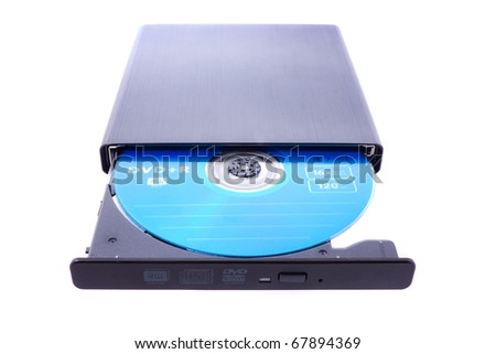 close up shot of dvd-rom isolated on white - stock photo