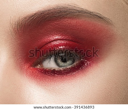 Close-up shot of female eye with makeup - stock photo