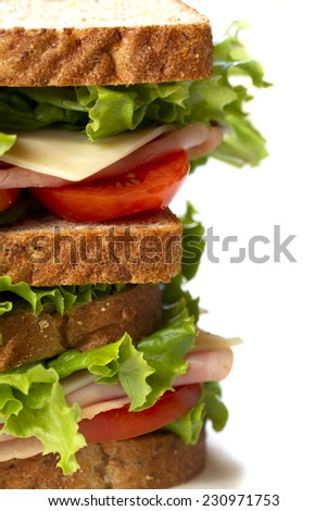 Close up shot of fresh ham sandwich with vegetable on the background - stock photo