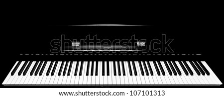 Close up shot of full keys  piano keyboard set - stock photo